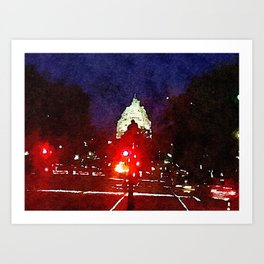 Capitol At Night Watercolor Art Print