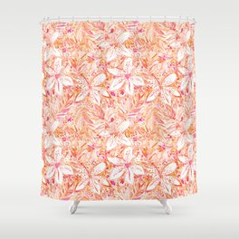 LILY SUNSET Peach Beachy Floral Shower Curtain