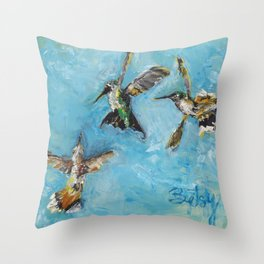 Hummingbird Trio: A Brave Black-chinned takes on the Rufous Twins Throw Pillow