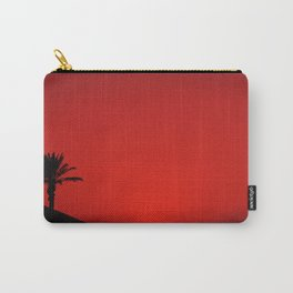 Red Andalusian sunset with silhouette palm tree and mountain Carry-All Pouch