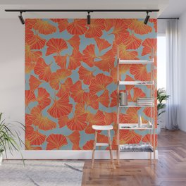 Tumbling Ginkgo Red Wall Mural