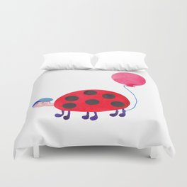 Little funny ladybug with balloon Duvet Cover