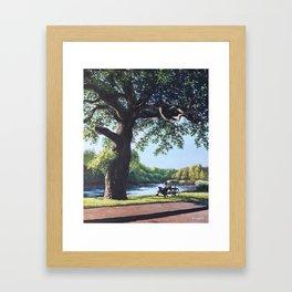 Southampton Riverside park oak tree with cyclist Framed Art Print
