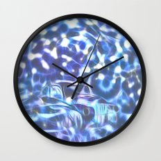 Blue space wreck Wall Clock