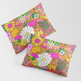 60's Groovy Garden in Neon Peach Coral Pillow Sham