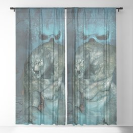 In the dark side of the night, running troll with skulls Sheer Curtain