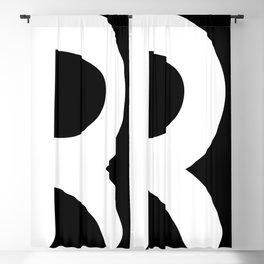 monogram r- black and white Blackout Curtain