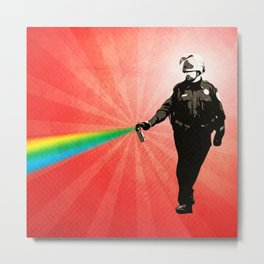 Pepper Spray Cop Rainbow - Pop Art Metal Print