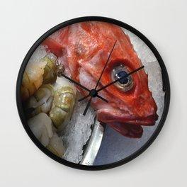 Red Fish Shrimp Market Wall Clock