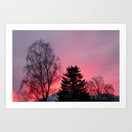 Sunset over snow capped Cumbrian Mountains Art Print