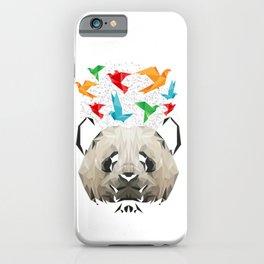 Panda And Origami Birds iPhone Case