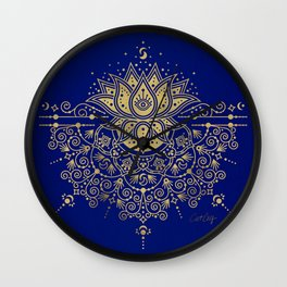 Sacred Lotus Mandala – Navy & Gold Palette Wall Clock