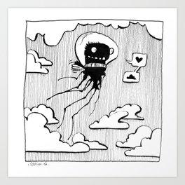 Flying squid – Seppiolina volante Art Print