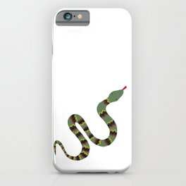 Green Garden Snake Cartoon with Yellow, Red and Black Zig Zag Bands iPhone Case