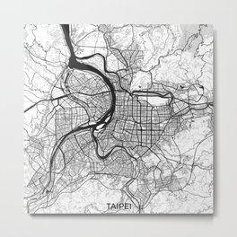 Taipei Map Gray Metal Print