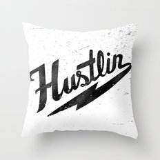 Hustlin - White Background with Black Image Throw Pillow
