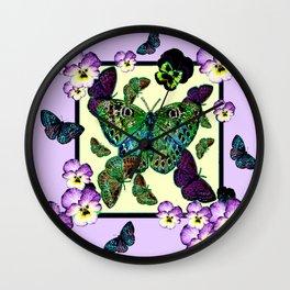 Colorful Fluttering Moths-Butterflies Lilac Purple Pansies Art Wall Clock