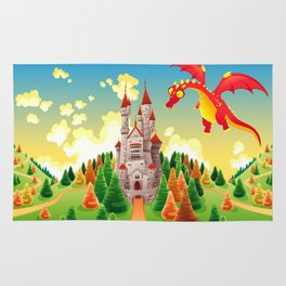 Panorama with medieval castle and dragon. Rug
