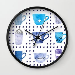 Watercolor hand drawn blue colored coffee cups pattern Wall Clock