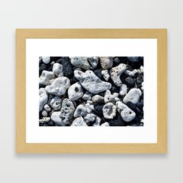Black and White Rocks Mixed with Lava Rocks in Hawaii Framed Art Print