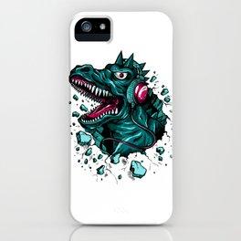 Dino with Headphones Green Cyprus iPhone Case
