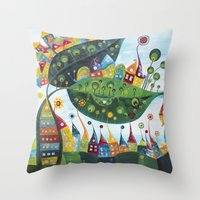 snail Throw Pillows featuring Snail by Annabies