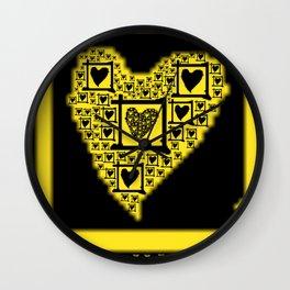 Yellow Toxic Hearts Wall Clock