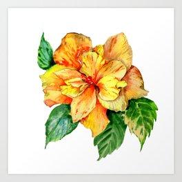 Yellow Summer Hibiscus Blossom Art Print