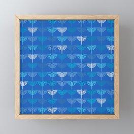 Hanukkah Chanukah Menorah Chanukkiah Pattern in Blue Framed Mini Art Print