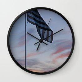 Ole Glory at Sunset Wall Clock