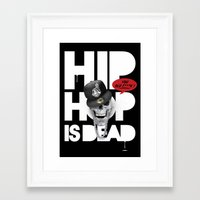 hiphop Framed Art Prints featuring HipHop is Dead... by Frankie White