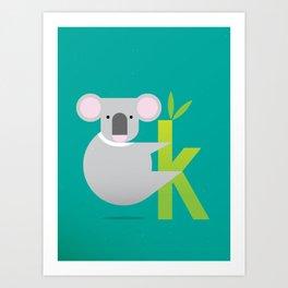 K for Koala Art Print