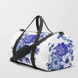 China Blue Porcelain, Asia, Peony, Flower, Floral, Cyan Duffle Bag