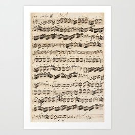 Johann Sebastian Bach (1685 – 1750) original music sheet Art Print