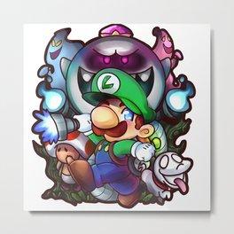 Luigi's Mansion Badge Metal Print