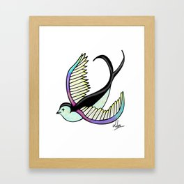 Black swallow odl school Framed Art Print