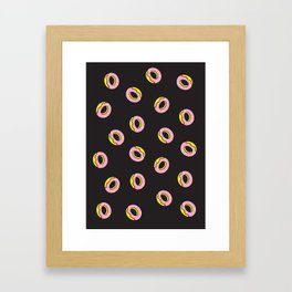 Donuts on Black Framed Art Print