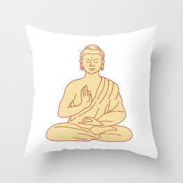 Gautama Buddha Sitting Lotus Position Drawing Throw Pillow