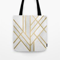 deco Tote Bags featuring Art Deco Geometry 2 by Elisabeth Fredriksson