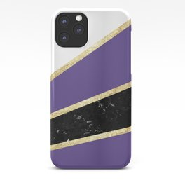 Ultra Violet, White, Black Marble and Gold Stripes Glam #1 #minimal #decor #art #society6 iPhone Case