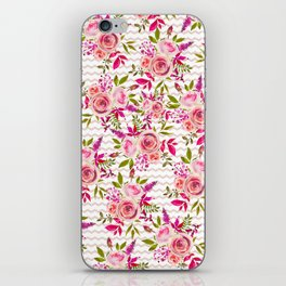 Geometrical pastel pink coral watercolor roses zigzag pattern iPhone Skin