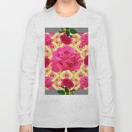 PINK GARDEN ROSES PATTERN  GREY ABSTRACT Long Sleeve T-shirt