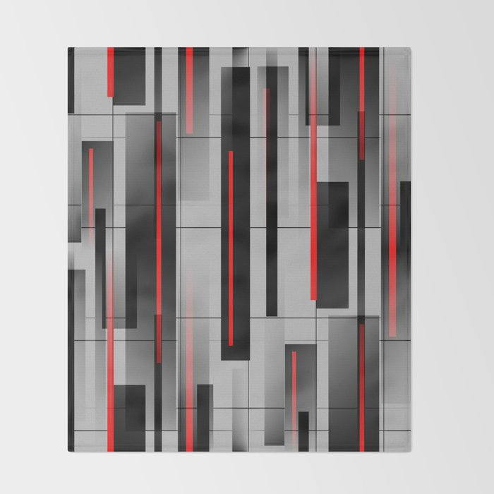 Off the Grid - Abstract - Gray, Black, Red Throw Blanket