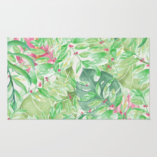 Hand Painted Watercolor Green Pink Tropical Leaves Floral