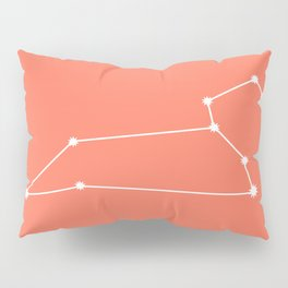 Leo Zodiac Constellation - Coral Red Pillow Sham