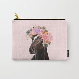 Horse with Flowers Crown in Pink Carry-All Pouch