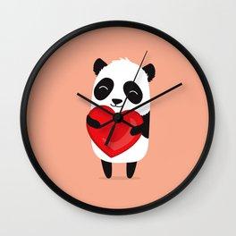 Panda love. Cute cartoon illustration Wall Clock