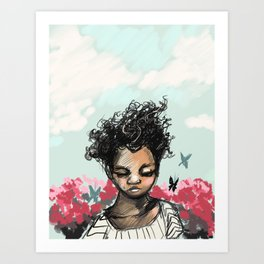 Girl with Butterfles Art Print