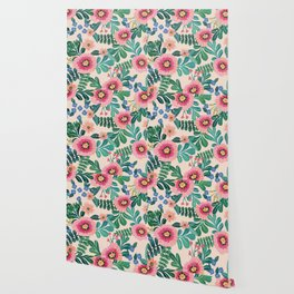 Colorful Tropical Vintage Flowers Abstract Wallpaper