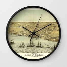 Bird's Eye View of Saint Clair, Michigan (1868) Wall Clock